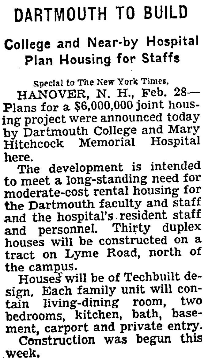 Dartmouth to Build